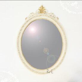 【送料無料】イタリア製 ホワイト・ゴールド楕円ウォールミラー 壁掛け鏡REG1-C13N・ISA-1410