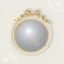 【あす楽対応】イタリア製 ホワイト・ゴールド コンパクトリボンミラー 壁掛け鏡REG1-C75