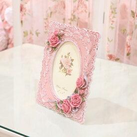 【プリンセスローズシリーズ ローズフォトフレーム ピンク】フォトスタンド 写真立て おしゃれ かわいい クラシカル エレガント ポストカード 北欧 姫系 フラワー 花 ローズ プレゼントRELCD-1201A