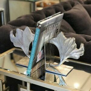 ★リーフ ブックエンド 本立て ブックスタンド ディスプレイ オブジェ ホワイト 北欧 おしゃれ かわいい インテリア モダン アンティーク プレゼント ギフト CD 本 収納 置物 葉 輸入雑貨 送