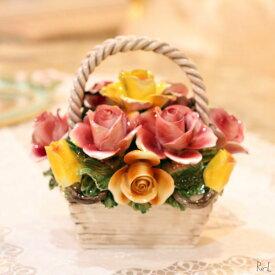 送料無料 イタリア製 陶花 花かご ピンク・イエロー 置物 かわいいギフト お祝い お返し REJ4-A84/2