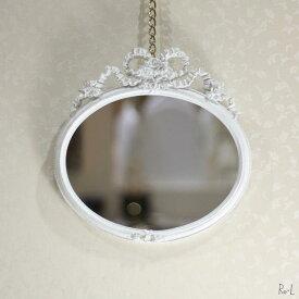 リボンミラー 壁掛け鏡 ホワイトRE15015WM-WH