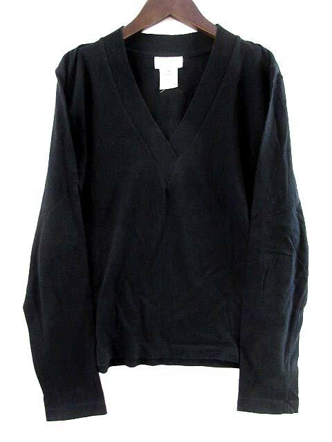 アニエスベー agnes b. カットソー Tシャツ 長袖 Vネック コットン 黒 ブラック 2 レディース 【中古】【ベクトル 古着】 171117 古着 買取&販売 ベクトルイズム