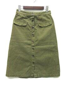 【中古】ザラ ベーシック ZARA BASIC デニム スカート 膝丈 フロントボタン オリーブ 緑 XS レディース 【ベクトル 古着】 190731 ベクトルイズム