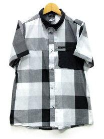 【中古】アディダス adidas チェック シャツ 半袖 スナップボタン ホワイト ブラック 白 黒 160 キッズ 【ベクトル 古着】 190811 ベクトルイズム