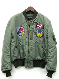 【中古】バズリクソンズ BUZZ RICKSON'S MA-1 フライトジャケット MA-1 LION UNIFORM INC. 1957 MODEL BR13109 セージグリーン L 東洋エンタープライズ メンズ 【ベクトル 古着】 200308 ベクトルイズム