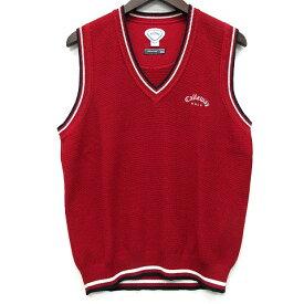 【中古】キャロウェイ CALLAWAY XSERIES ニット ベスト ライン ロゴ刺繍 ドライ L 赤 レッド ゴルフ DRYSPORT メンズ 【ベクトル 古着】 200708 ベクトルイズム