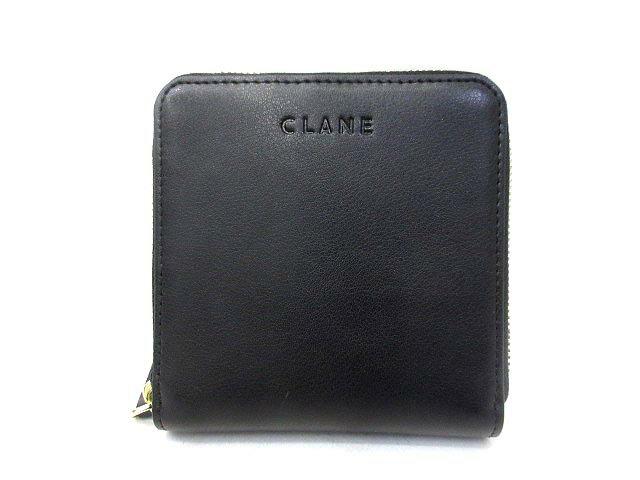 未使用 CLANE クラネ 12136-4271 ロゴ 型押し レザー ラウンドファスナー 二つ折り 財布 ブラック レディース 【中古】【ベクトル 古着】 180120 古着 買取&販売 ベクトルイズム