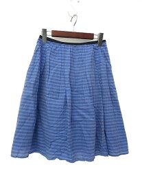 【中古】 INED イネド ボーダー ひざ丈 フレア スカート 7 ブルー系 レディース 【ベクトル 古着】 190415