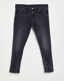 リバーアイランド メンズ デニムパンツ ボトムス River Island Big & Tall skinny jeans in washed black Washed black