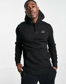 リバーアイランド メンズ パーカー・スウェット アウター River Island script muscle fit hoodie in black Black