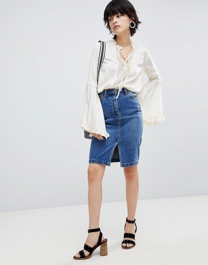 ウエアハウス レディース スカート ボトムス Warehouse Split Front Denim Skirt Mid wash