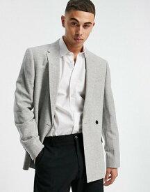 リバーアイランド メンズ ジャケット・ブルゾン アウター River Island wool suit jacket in gray herringbone Grey