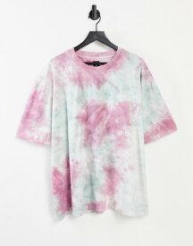 リバーアイランド メンズ シャツ トップス River Island oversized tie dye t-shirt in gray Light