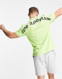 リバーアイランド メンズ シャツ トップス River Island t-shirt with LA back print in neon green GREEN - BRIGHT