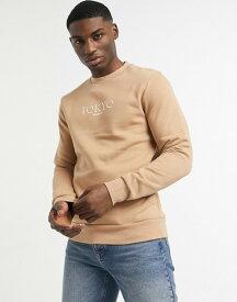 リバーアイランド メンズ シャツ トップス River Island 'Tokyo' print sweatshirt in camel Camel