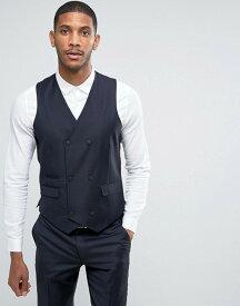 エイソス メンズ タンクトップ トップス ASOS Skinny Suit Vest in 100% Wool in Navy Navy
