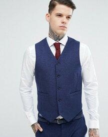 エイソス メンズ タンクトップ トップス ASOS Wedding Skinny Suit Vest in Navy Wool Mix Navy
