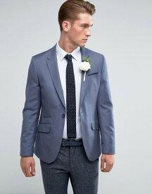 エイソス メンズ ジャケット・ブルゾン アウター ASOS Wedding Skinny Blazer In Blue 100% Wool Blue