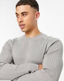 リバーアイランド メンズ ニット・セーター アウター River Island knit muscle fit sweater in gray Grey