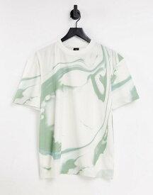 リバーアイランド メンズ シャツ トップス River Island regular fit marble print T-shirt in white WHITE