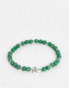 アイコンブランド メンズ ブレスレット・バングル・アンクレット アクセサリー Icon Brand beaded stretch bracelet in green GREEN