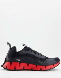 リーボック メンズ スニーカー シューズ Reebok Zig Dynamica running sneakers in black Black/instinct red/p