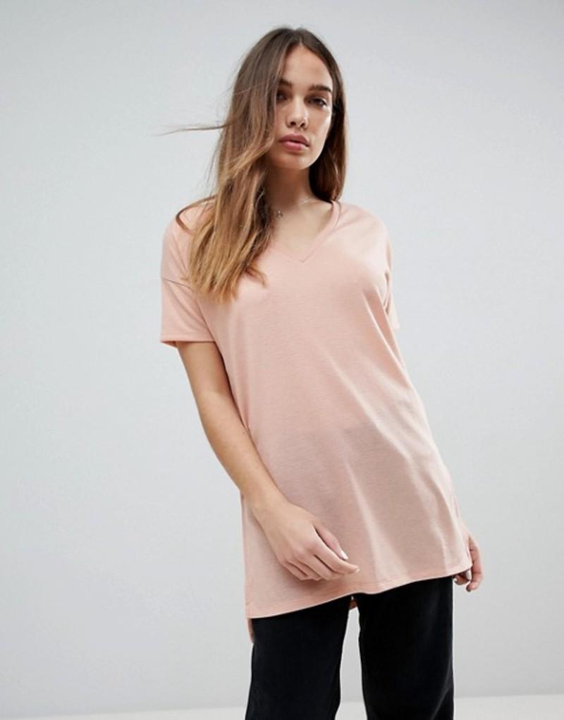 エイソス レディース Tシャツ トップス ASOS DESIGN oversized longline t-shirt with v-neck in lightweight rib Pink