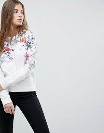 リプレイ レディース パーカー・スウェット アウター Replay Floral Print Crew Neck Sweatshirt White