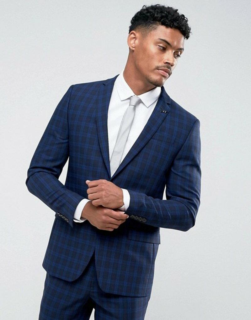 リバーアイランド メンズ ジャケット・ブルゾン アウター River Island Wool Rich Suit Jacket In Blue Check Blue