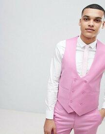 エイソス メンズ タンクトップ トップス ASOS DESIGN Wedding Skinny Suit Vest In Pink 100% Wool Pink