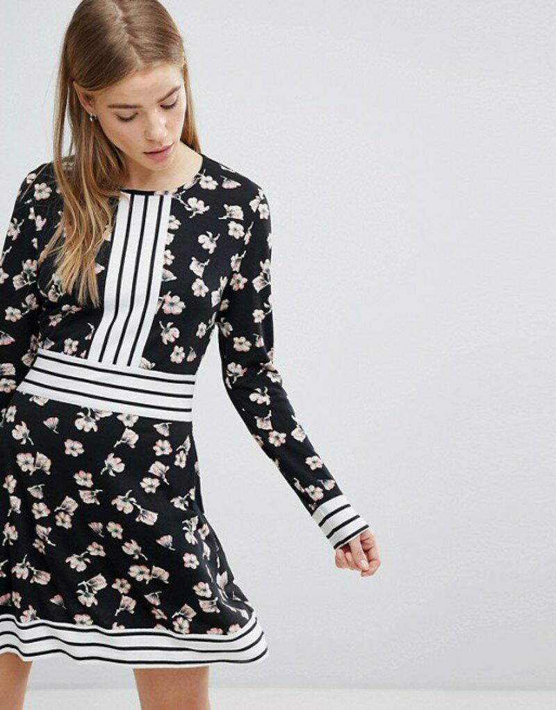 ユミキム レディース ワンピース トップス Yumi Floral Skater Dress with Contrast Stripe Trim Black