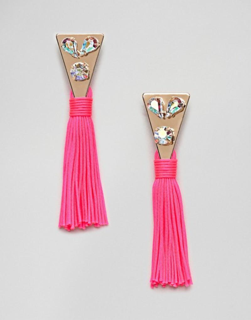 エイソス レディース ピアス・イヤリング アクセサリー ASOS DESIGN Jewel Triangle And Metallic Tassel Earrings Gold