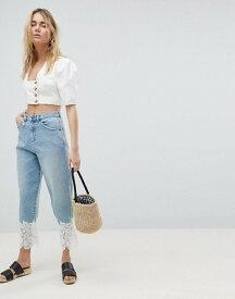 エイソス レディース デニムパンツ ボトムス ASOS DESIGN Boyfriend Jeans In Mid Wash With Lace Hem Mid wash blue