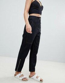 エイソス レディース デニムパンツ ボトムス ASOS DESIGN Clean Tapered Boyfriend Jean With Contrast Stitch Detail Indigo