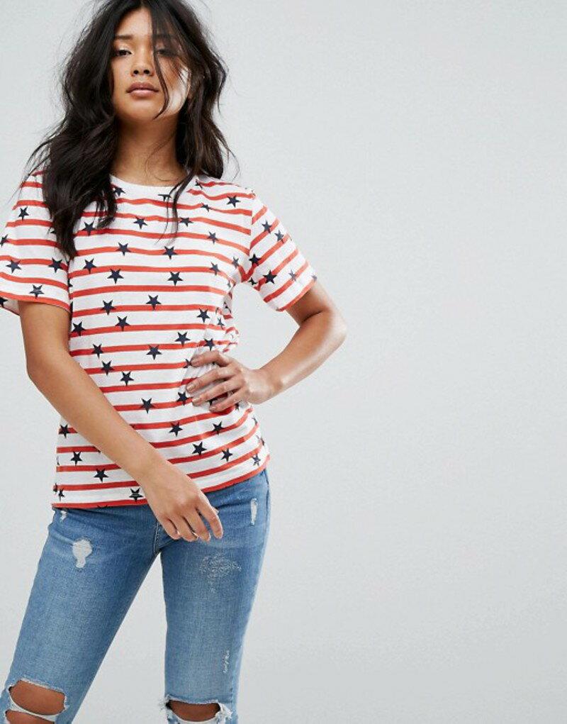 ウエアハウス レディース Tシャツ トップス Warehouse Striped Star Print T-Shirt Red stripe