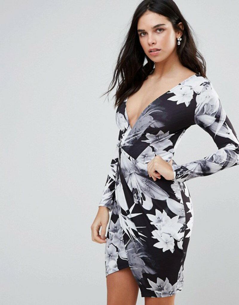 ジェシカライト レディース ワンピース トップス Jessica Wright Long Sleeve Palm Tree Print Wrap Dress Black