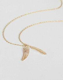 エイソス メンズ ネックレス・チョーカー アクセサリー ASOS Gold Feather Necklace Gold
