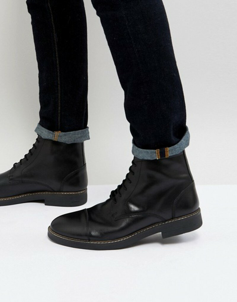 フランクライト メンズ ブーツ・レインブーツ シューズ Frank Wright Military Lace Up Boots In Hi Shine Black Black