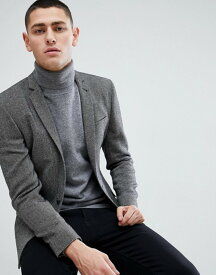 エイソス メンズ ジャケット・ブルゾン アウター ASOS Super Skinny Texture Blazer In Dark Gray Wool Mix Black