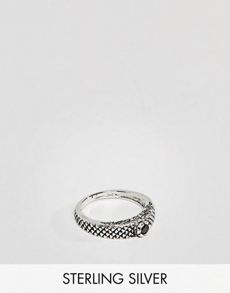 エイソス メンズ 指輪 アクセサリー ASOS DESIGN Sterling Silver Ring With Snake Emboss And Stone Set Silver