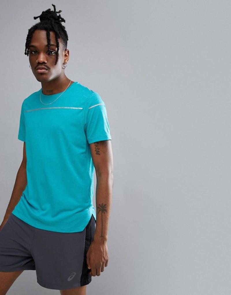 アシックス メンズ Tシャツ トップス Asics Running Lite-Show Reflective T-Shirt In Blue 154572-8098 Blue