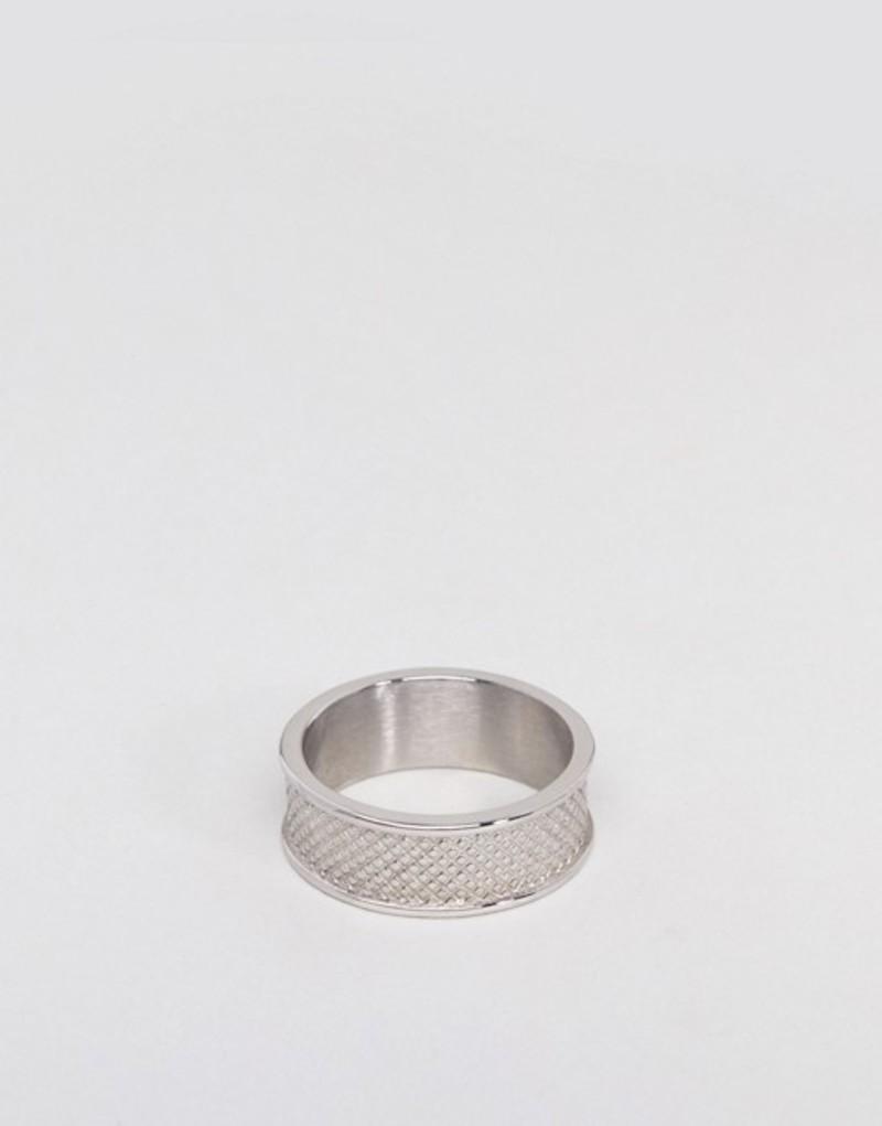 エイソス メンズ 指輪 アクセサリー ASOS DESIGN Stainless Steel Ring With Emboss Silver