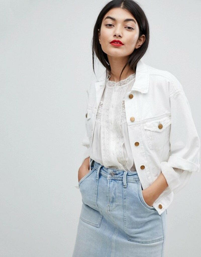 ペペジーンズ レディース ジャケット・ブルゾン アウター Pepe Jeans Crop Sleeve Denim Jacket Ragged white