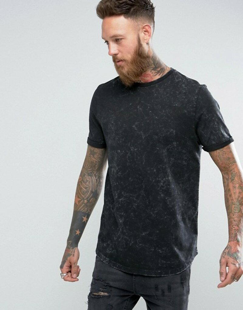 エイソス メンズ Tシャツ トップス ASOS Longline T-Shirt With Curved Hem In Subtle Acid Wash In Black Black