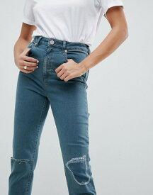 エイソス レディース デニムパンツ ボトムス ASOS DESIGN Farleigh High Waist Slim Mom Jeans In Green Cast With Rip & Repair Knee Detail Mid wash blue