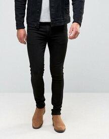 エイソス メンズ デニムパンツ ボトムス ASOS Super Skinny Jeans in Black Black