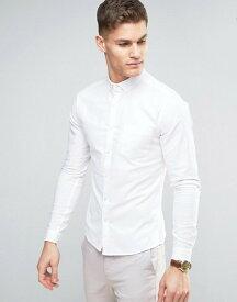 エイソス メンズ シャツ トップス ASOS Casual Skinny Oxford Shirt In White White