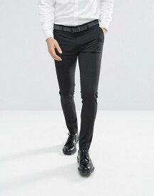 エイソス メンズ カジュアルパンツ ボトムス ASOS Super Skinny Smart Pants In Charcoal Charcoal