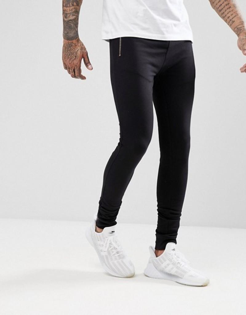 エイソス メンズ カジュアルパンツ ボトムス ASOS Super Skinny Joggers With Rose Gold Zip Pockets In Black Black